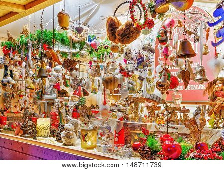 Stall With Various Souvenirs At The Vilnius Christmas Market
