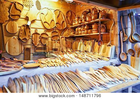 Wooden Kitchen Utensils At Riga Christmas Market
