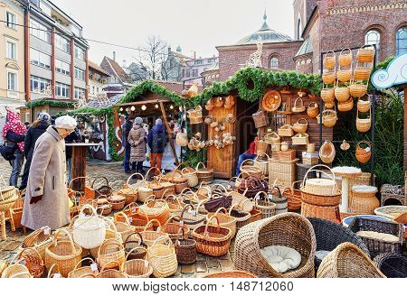 Christmas Market Stall With Wicker Baskets For Sale In Riga