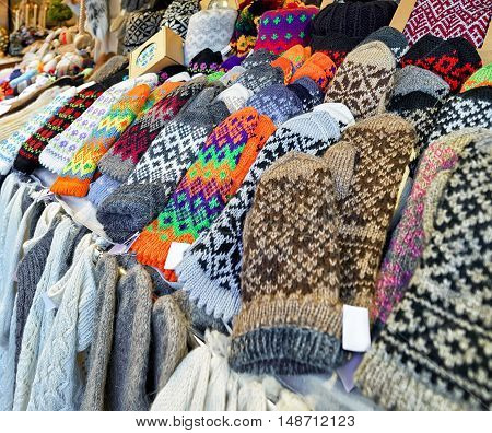 Colorful Woolen Gloves At Riga Christmas Market