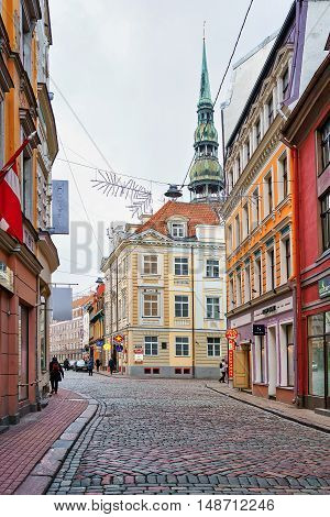 Empty Streets Of The Old Town In Riga
