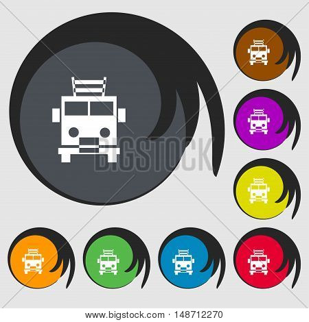 Fire Engine Icon Sign. Symbols On Eight Colored Buttons. Vector