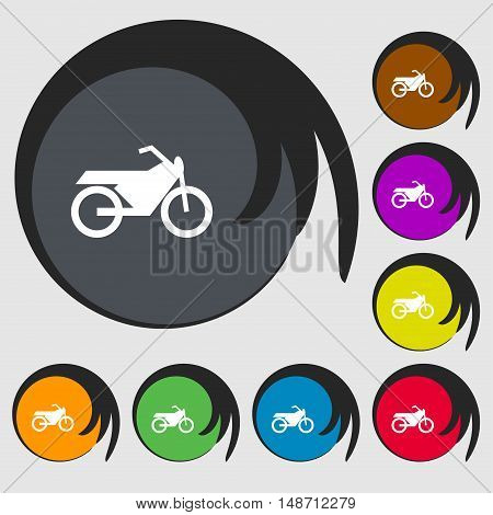 Motorbike Icon Sign. Symbols On Eight Colored Buttons. Vector