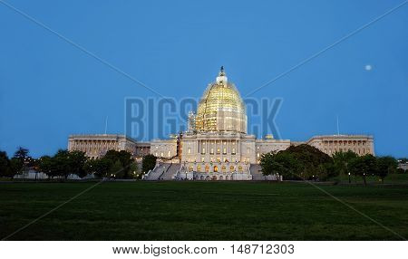 Evening View At United States Capitol