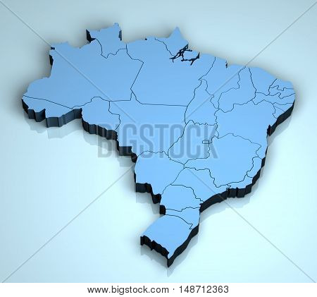 Brazil 3D geographical location land geography states