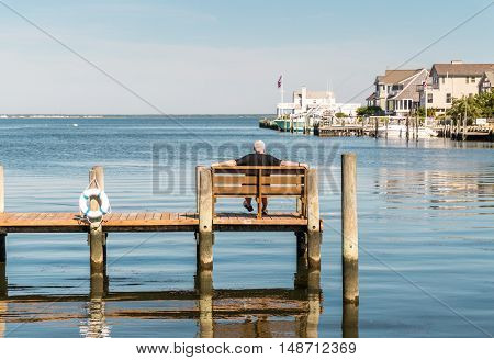Man seated on bench on the dock looking out into Little Egg Harbor