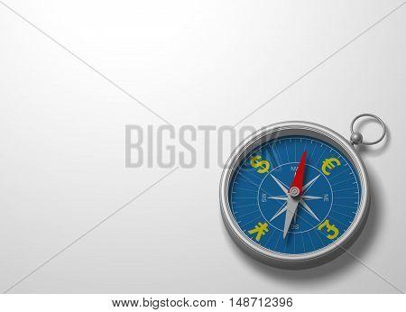 Compass 3D direction equipment magnet forward symbol
