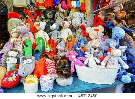 Handmade Bear Toys Displayed At Riga Christmas Market