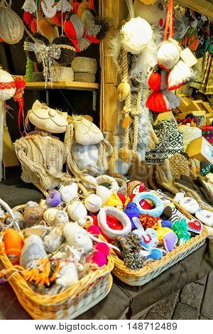 Handmade Souvenirs And Goods During The Riga Christmas Market