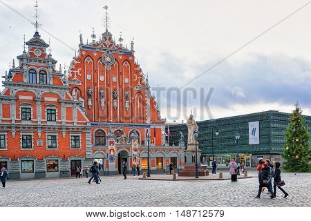House Of The Blackheads In An Old Town In Riga
