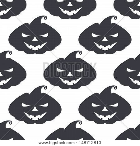 Vector monochrome pattern pumpkin with scary face on white background