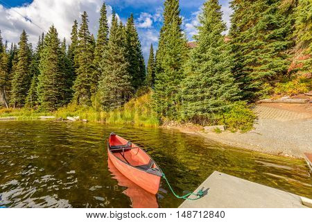 boat on the lake or mountain river