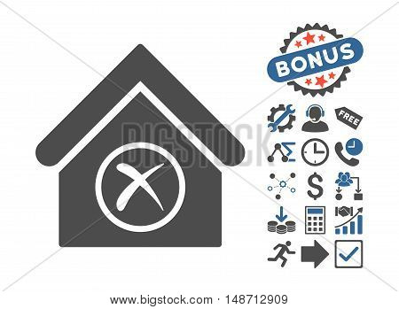 Erase Building pictograph with bonus icon set. Vector illustration style is flat iconic bicolor symbols, cobalt and gray colors, white background.