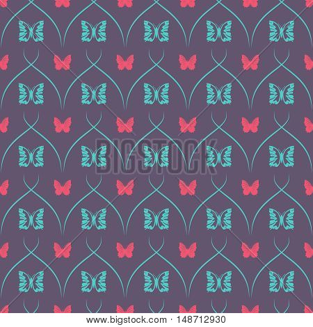 Dark seamless background with butterflies and oblique thin lines.