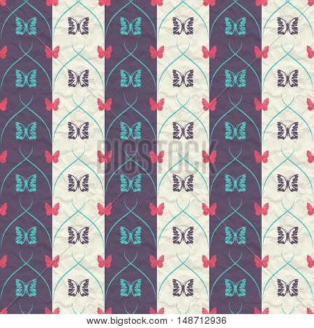 Striped seamless pattern with butterflies and vertical thick and thin oblique lines on crumpled paper.