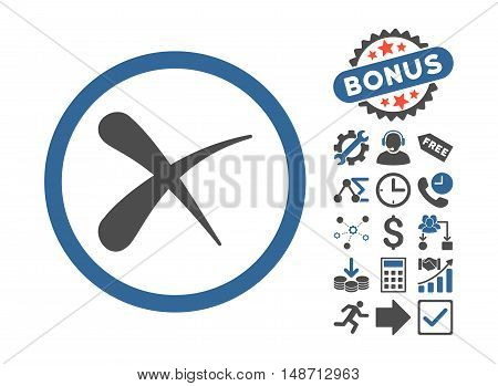 Erase pictograph with bonus images. Vector illustration style is flat iconic bicolor symbols, cobalt and gray colors, white background.