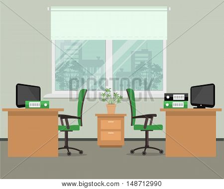 Workplace for two office workers. Vector illustration. There is a tables, green chairs, the computers and other objects in the picture. Office objects are situated on a window background