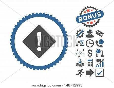 Error pictograph with bonus icon set. Vector illustration style is flat iconic bicolor symbols, cobalt and gray colors, white background.