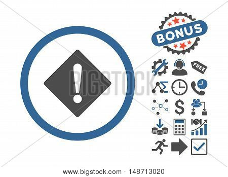 Error pictograph with bonus symbols. Vector illustration style is flat iconic bicolor symbols, cobalt and gray colors, white background.