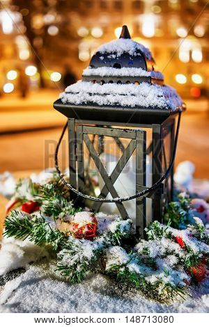 Snowy Lantern At The Vilnius Christmas Market In Lithuania