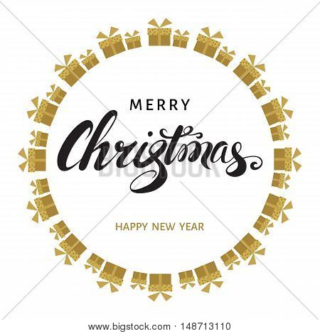 Merry Christmas and Happy New Year text with golden gift boxes on white background. Vector greeting card.