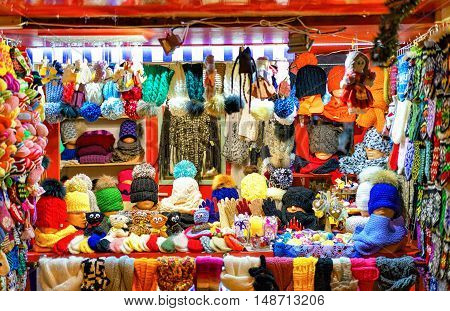 Stall With Warm Clothes At Riga Christmas Market