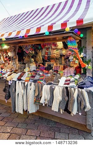 Stall With Warm Socks And Gloves At Riga Christmas Market