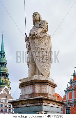 Statue Of Roland In An Old Town Of Riga