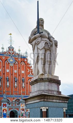 Statue Of Roland In The Old Town Of Riga