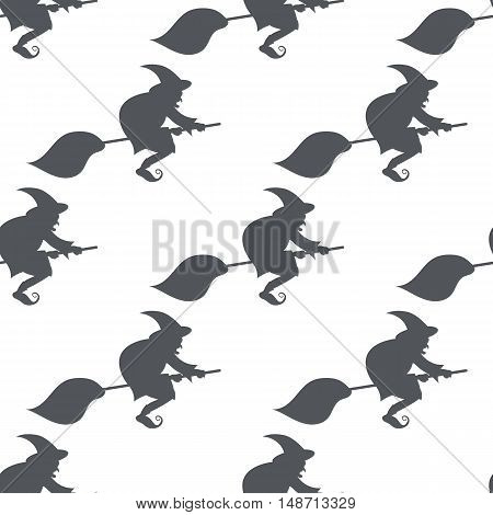 Vector monochrome pattern witch on a broomstick, seamless texture for decorating