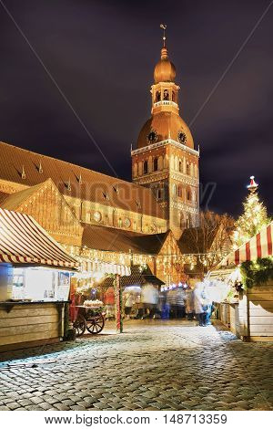 Street Of The Christmas Market Near The Riga Cathedral