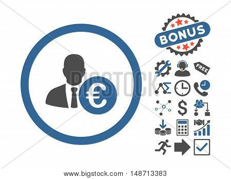 Euro Banker icon with bonus images. Vector illustration style is flat iconic bicolor symbols, cobalt and gray colors, white background.
