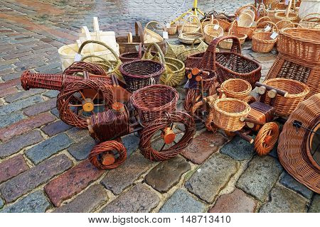 Various Wicker Baskets At The Christmas Market In Riga