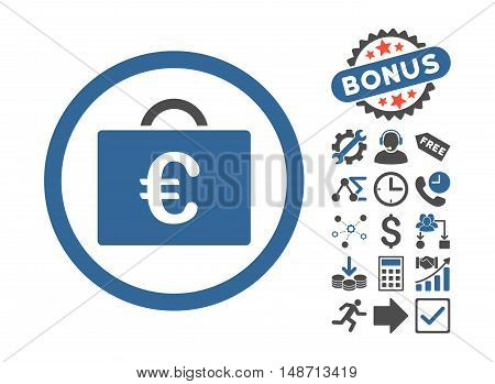 Euro Bookkeeping Case icon with bonus elements. Vector illustration style is flat iconic bicolor symbols, cobalt and gray colors, white background.