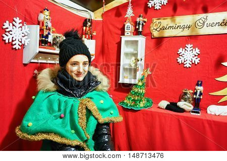 Woman Dressed As The Elf At The Vilnius Christmas Market