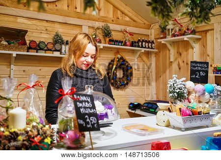 Woman Selling Soap At The Vilnius Christmas Market