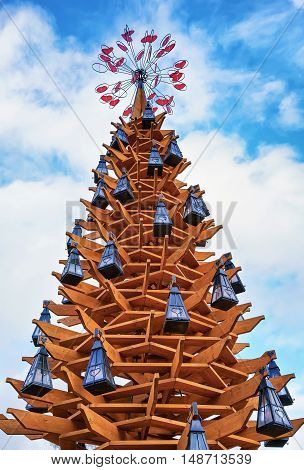 Wooden Christmas Tree At Daytime In The Center Of Riga