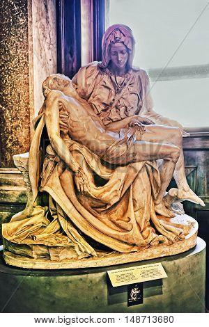 Pieta Sculpture Of Michelangelo In Saint Peter Basilica In Vatican
