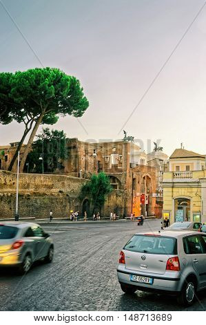 Ruins Of Trajan Forum In The Old City In Rome