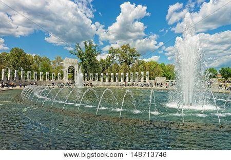 Visitors At The National World War Ii Memorial Washington Dc