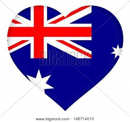 Illustration of the flag of Australia shaped like a heart
