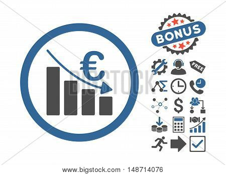 Euro Recession icon with bonus icon set. Vector illustration style is flat iconic bicolor symbols, cobalt and gray colors, white background.