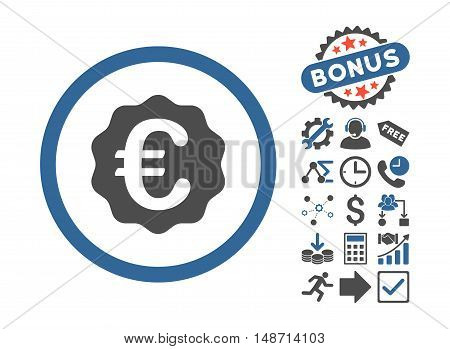 Euro Reward Seal icon with bonus pictures. Vector illustration style is flat iconic bicolor symbols, cobalt and gray colors, white background.