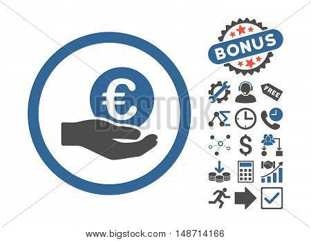 Euro Salary Hand icon with bonus symbols. Vector illustration style is flat iconic bicolor symbols, cobalt and gray colors, white background.