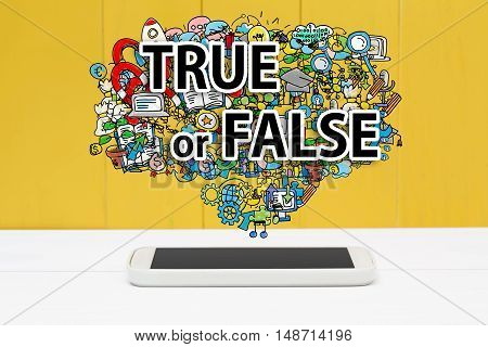 True Or False Concept With Smartphone
