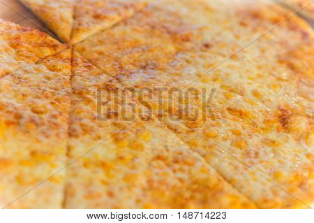 Background from tasty pizza with sausage and pepper