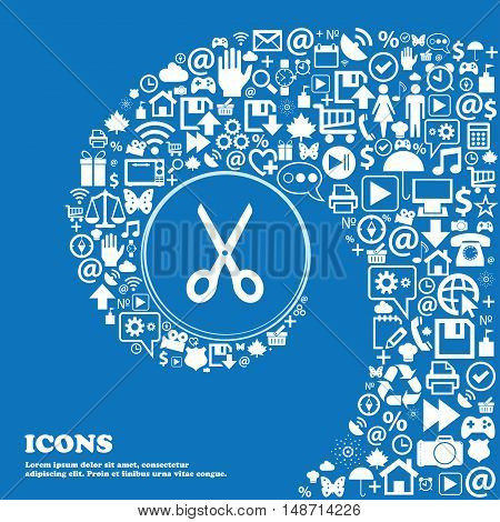 Scissors Icon Sign. Nice Set Of Beautiful Icons Twisted Spiral Into The Center Of One Large Icon. Ve