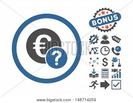 Euro Status pictograph with bonus symbols. Vector illustration style is flat iconic bicolor symbols, cobalt and gray colors, white background.