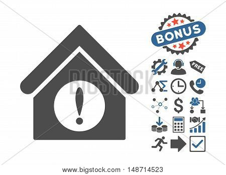 Exclamation Building icon with bonus elements. Vector illustration style is flat iconic bicolor symbols, cobalt and gray colors, white background.