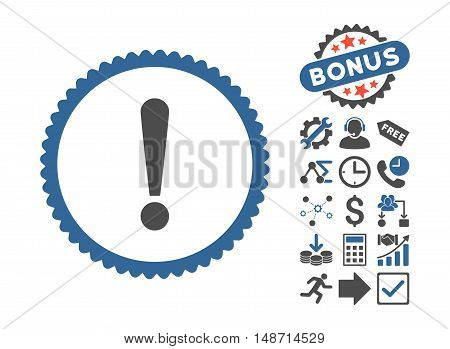 Exclamation Sign pictograph with bonus pictogram. Vector illustration style is flat iconic bicolor symbols, cobalt and gray colors, white background.